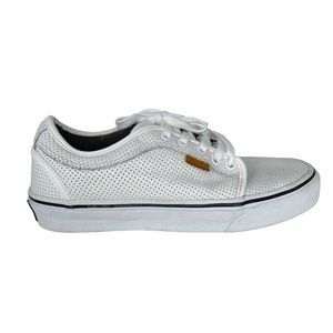 Vans White Leather Perforated Lace up Chukas 7.5